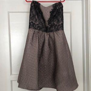 strapless rosequartz dress w/black lace mini